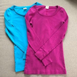 Victoria's Secret teal and purple thermal shirts